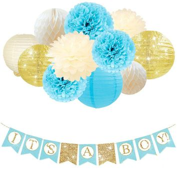 BOY'S BABY SHOWER Decorations Set-It's A Boy Banner, It's A Boy Baby Shower Party Kit, Blue, Gold Party Theme, Baby Boy Shower Party