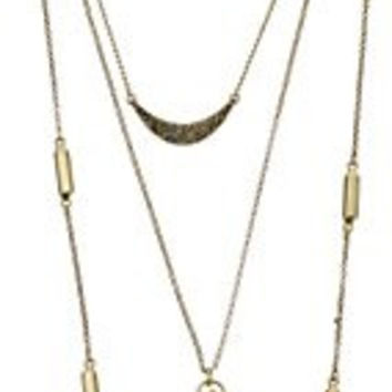 """Lucky Brand Gold Pave Half Circle Lucky Layer Necklace, 17"""" + 2"""" Extender"""