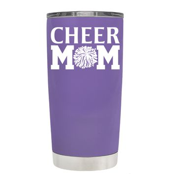 Cheer Mom Pom Pom on Lavender 20 oz Tumbler Cup