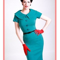 Mad Men Style Teal Green Wiggle Dress=Bettie Page Retro Dresses