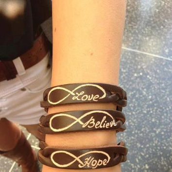 LEATHER BRACELET   Infinity Sign Love Believe by virgininthecity