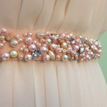 Blush Pearl and Mixed Crystal Beaded Bridal Ribbon Sash