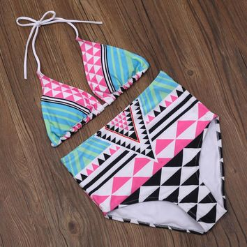 Geometric Pattern High Waist Halter Bikini Set Swimsuit Swimwear