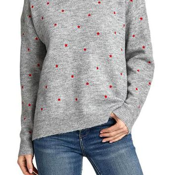 RD Style Grey Red Star Sweater
