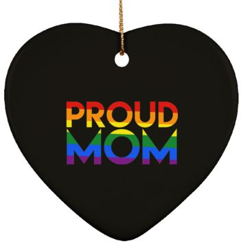 Gay Christmas Ornament Proud Mom Ceramic Heart Shape 3 Inches (Black)