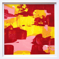 Modern Abstraction bright colors yellow red pink framed abstract expressionism