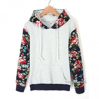 Fashion Ladies Women Casual Hooded Long Sleeve Patchwork Floral Loose Leisure Sports Hoodie Sweat = 1919955588