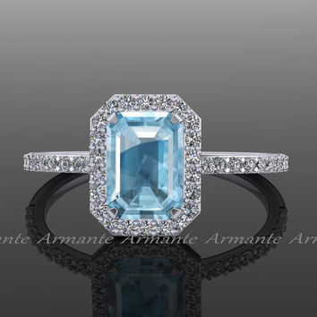 Halo Aquamarine and Diamond Engagement Ring