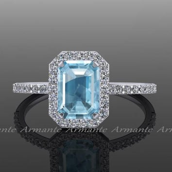 Aquamarine Engagement Ring / Diamond And Aquamarine Halo Ring / 14k White Gold Emerald Cut Aquamarine / Re0005