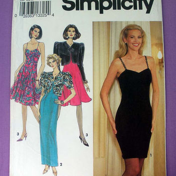 Women's Cocktail, Evening Dress and Jacket Misses' Size 4, 6, 8 Vintage Simplicity 8128 Sewing Pattern Uncut Little Black Dress