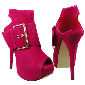 Womens Ankle Boots Suede Gold Buckle Peep Toe High Heel Shoes Pink SZ