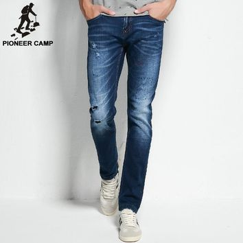 Pioneer Camp 2017 ripped jeans mens brand clothing fashion stretch denim pants top quality casual slim fit biker jeans for men