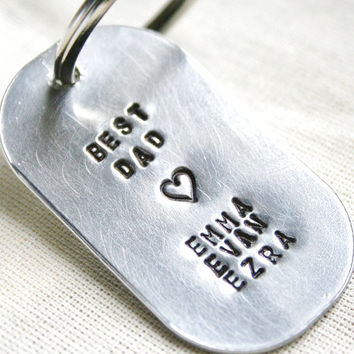 Personalized Best Mom Best Dad Dog Tag Hand Stamped Key Chain Brushed Aluminum Add Kids Names