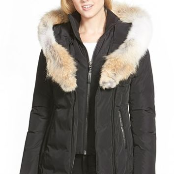Women's Mackage Hooded Down Parka with Inset Bib & Genuine Coyote Fur Trim,