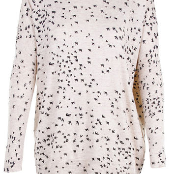 Small birds swallows print top jumper knitwear oversized top shirt womens ladies cardigan