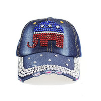 Republican Elephant Rhinestone Baseball Cap Denim