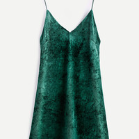 Green Velvet Spaghetti Strap Slip Dress