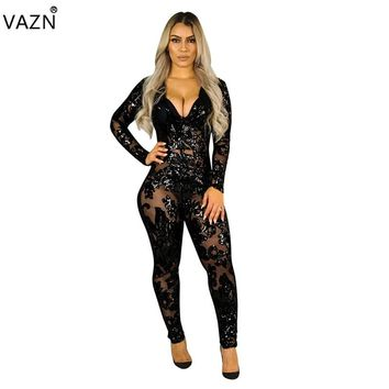 VAZN 2018 New Style Brand Fashion Bodycon Jumpsuit Full Sleeve Lace Jumpsuit V-Neck Sexy Jumpsuit K8522