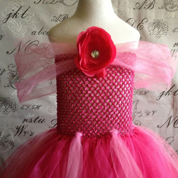 HANDMADE Sleeping Beauty AURORA Disney Princess PINK Super Soft Tulle Tutu Halloween Costume Dress Skirt Girls Baby Dress-Up Custom Crochet