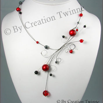 red, black necklace, fantasy necklace, bridesmaids necklace, delicate necklace, nature jewelry, swirl necklace, funky jewelry