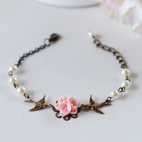 Swallow Birds Pink Flower Swarovski Cream Pearls Bracelet. Antique Brass Swallow Birds, Pink Flower Bouquet Bracelet. Bridesmaids Gift