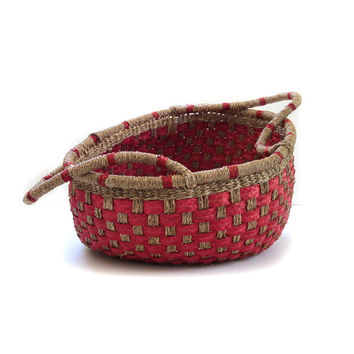 Vintage Large Sisal Jute Basket Tote Farmers Market Bag Storage Toy Linens