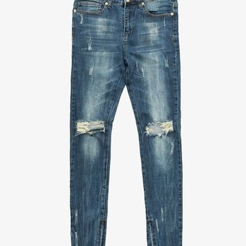 Dark Blue Washed Destroyed Denim Jeans