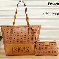 MCM Exquisite Trendy Women's Fashion Leather Tote Shoulder Bag Two-piece F-LLBPFSH Brown