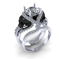 Skull Engagement Ring 22 k with Genuine Diamond Center  1 Carat