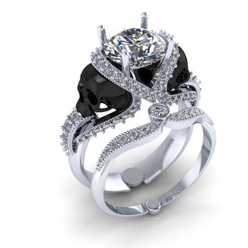 Skull Engagement Ring 18 k with 1 Carat Genuine Diamond G.I.A. IF Clarity