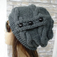 Womens Hat -  Knit hat -  Cable knit hat  - Slouchy Hat with Button -  Charcoal Gray    Hat -   Winter fashion Accessories - Winter Hat