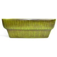 Haeger Retro Green Planter - Long Rectangle Ceramic Window Box Style for Herb Garden, Succulents or Bonsai - Vintage Home Decor