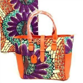 Ankara African Wax Print Tote Bag With leather Straps