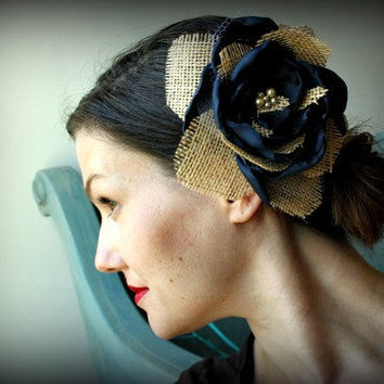 Hair Flower Accessory in Burlap and Singed Satin Petals in Navy for County Rustic Style Weddings