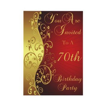 70th Birthday Party Personalized Invitation from Zazzle.com