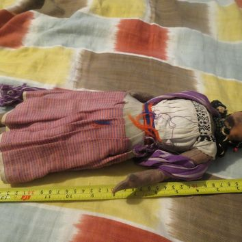 Vintage Mexican Glass eye cloth Doll Authenic Native made