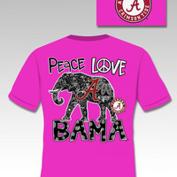 Sassy Frass Funny Alabama Peace Roll Tide Girlie Bright T Shirt