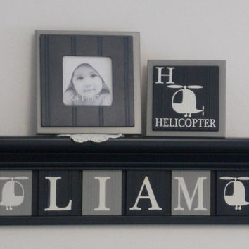"Personalized Helicopter Art Shelf for Nursery, Kids Room Decor - Customize With Your Child's Name - 6 Gray / Navy Plaques on 24"" Navy Shelf"