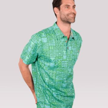 "Te Aito ""To'a Hiti"" Mens Button Down Green Aloha Shirt"