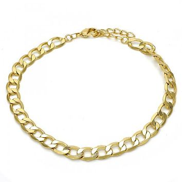 Gold Layered 04.213.0100.08 Basic Bracelet, Pave Cuban Design, Polished Finish, Golden Tone