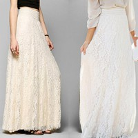 Women High Waist Skirt Lace Double Layer Pleated Long Maxi Elastic Waist Skirt