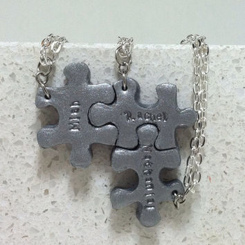 Puzzle Pieces Personalized 3 Necklaces Silver Polymer clay Made to order