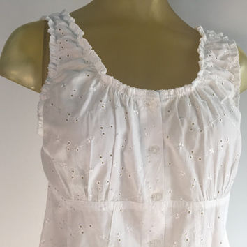 White Eyelet Tank Top, Sleeveless White Blouse, Boho Vintage Eyelet Top, White Sleeveless Blouse, Side Slits Festival Top, Breezy Summer Top