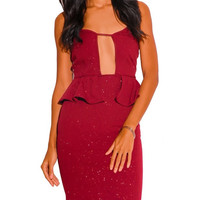 Cut Out Peplum Glitter Bodycon Party Dress in Red Wine
