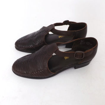 SIZE 8 Vintage  Dark Brown Woven Leather Sandals Flats Slip On Shoes Leather Collection Ethnic Hippie Boho Summer Hipster Braided Leather