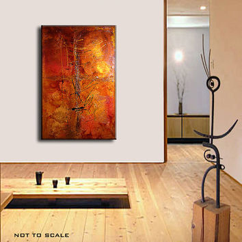 ORIGINAL Textured Abstract painting Contemporary Gold Orange metallic Fine Gallery Art by Henry Parsinia Large 36x48