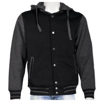 Mens Hoodie Varsity Jacket~Black/Grey