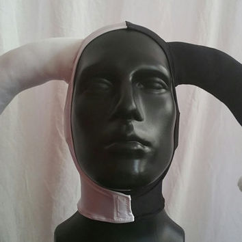 Version 1 Harlequin White and Black Stretch Jester Hat One Size READY TO SHIP