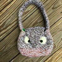 Little Girl Owl Purse, Mini Purse with Owl Applique, Girls Handbag, Small Bag for Girls, Owl Lover, Gifts for Girls, Handamde Knit Purse