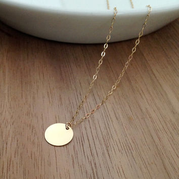 VALENTINE'S DAY, Gold Necklace, Small Flat Circle Simple Disc Blank Modern Everyday Necklace, Gold Fill Chain